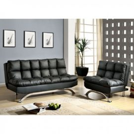ARISTO BLACK FUTON CHAISE SOFA