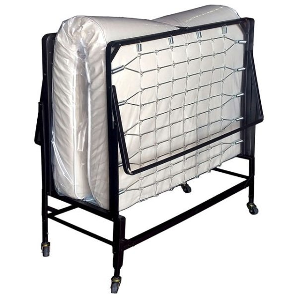 "This rollaway bed with polyfiber mattress features 2"" ball bearing casters, automatic leg opening, and a quality polyfiber mattress."