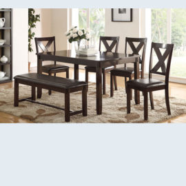 6pc Brown Dining set with Bench