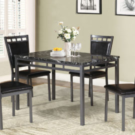 5pc Grey Metal and marble top dining set
