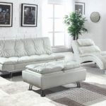 Dilleston Storage White Ottoman
