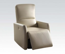 Beige powered recliner leather