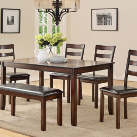6pc walnut Dining set with Bench