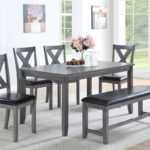 6pc Grey Dining set with Bench