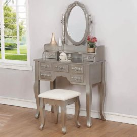 Metallic Silver Vanity Set