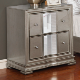 Adele Contemporary Metallic Bed Nightstand