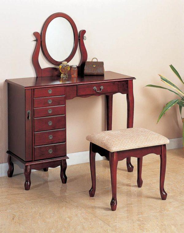 Brown Red Vanity Set