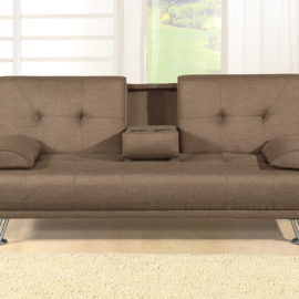 Adjustable Brown Upholstered Sofa