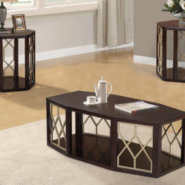 Modern Cherry wood & brass coffee table set
