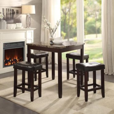 5pc dining set in marble and espresso