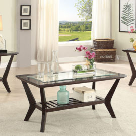 glass inserted coffee table set