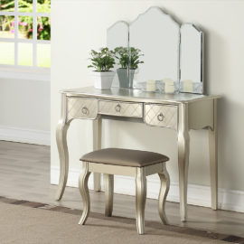 silver Luxurious 3 Drawers Vanity Set 4 Colors