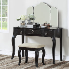 black Luxurious 3 Drawers Vanity Set 4 Colors