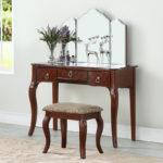 cherry Luxurious 3 Drawers Vanity Set 4 Colors