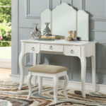 white Luxurious 3 Drawers Vanity Set 4 Colors