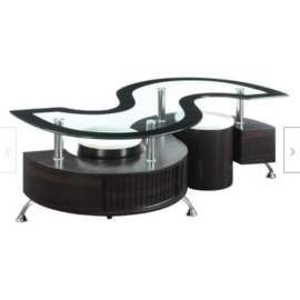 3-Piece Coffee Table And Stools Set Cappuccino