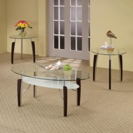3-Piece Modern Table Set Cappuccino And Chrome