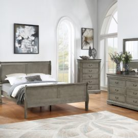 Louis Philippe Gray Bed Frame