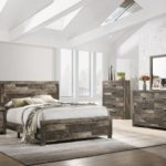 Tallulah Rustic Block Wood Finish Bed Frame