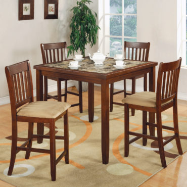 5-Piece Counter Height Dining Set Red Brown And Tan