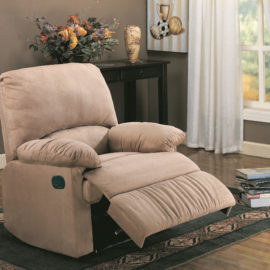Upholstered L Brown Motion Recliner