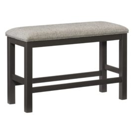 Counter High Upholstered Grey Bench