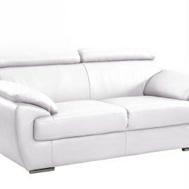 White Leather Modern Loveseat