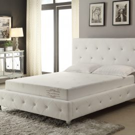 Relax and sleep on your favorite mattress with style in this modern crystal tufted bed and headboard. Express your exquisite taste of design while easily enhancing your room with this beautiful platform bed accented with silver designer feet.