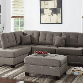 3PCS Sectional w/ 2 Accent Pillows in Coffee
