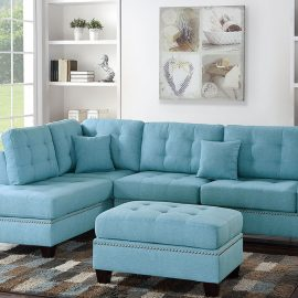 3PCS Sectional w/ 2 Accent Pillows in Ski Blue