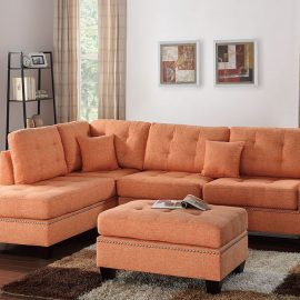 3PCS Sectional w/ 2 Accent Pillows in Citrus