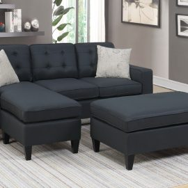 Tufted Back Sectional w/ Ottoman in Black