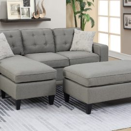 Tufted Back Sectional w/ Ottoman in L Grey
