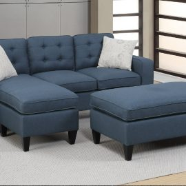 Tufted Back Sectional w/ Ottoman in Navy