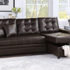 Tufted Cushions Sleeper Sectional Sofa espresso