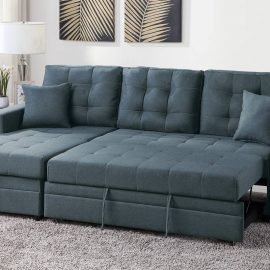 Tufted Cushions Sleeper Sectional Sofa