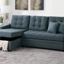 Tufted Cushions Sleeper Sectional Sofa Blue Grey