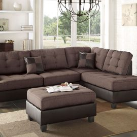 2 Tone Sectional Ottoman Brown on espresso
