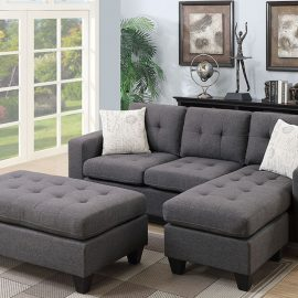 Tufted Sectional w/ Ottoman in Blue Grey