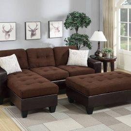 Tufted Sectional w/ Ottoman in 2Tone Brown