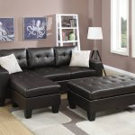 Tufted Sectional w/ Ottoman in espresso