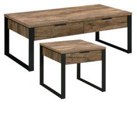 Natural Rustic Wood & Metal Coffee Table Set