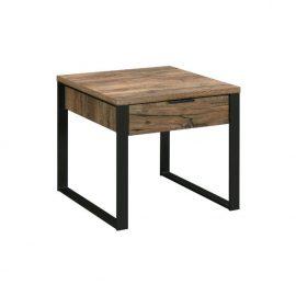 Natural Rustic Wood & Metal End Table
