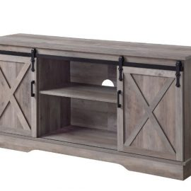 "Grey Finished Barn Door 58"" TV Stand"