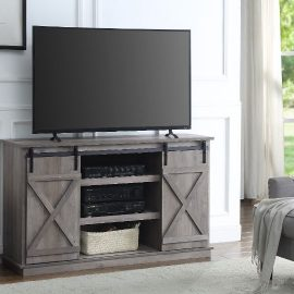 "Grey Finished Barn Door 54"" TV Stand"