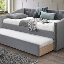 Grey Nailhead Upholstered Daybed w/ Trundle 3 Colors