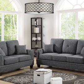 2Pc Sofa Loveseat Set in L Grey