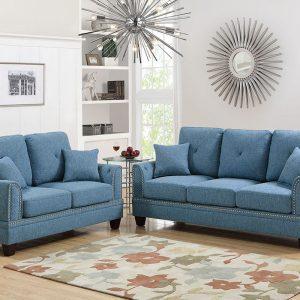 2Pc Sofa Loveseat Set in L Blue