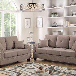 2Pc Sofa Loveseat Set in L Brown