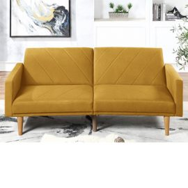 Mustard Polyfiber Adjustable Sofa